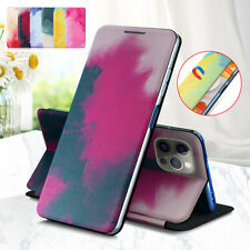 For iPhone 12 Mini 11 Pro XR XS Max Painted Flip Leather Wallet Stand Case Cover