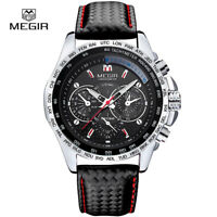 MEGIR Black Leather Band Men's Army Military Sport Quartz Wrist Watch Bangle