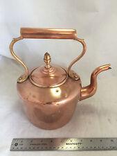 """Vintage Antique 1800's English Copper Teapot Kettle Medium 5qt 10"""" x 7"""" x 10"""""""