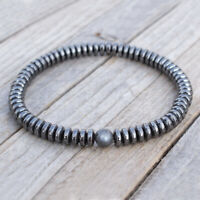 Handmade 6mm Labradorite Stone Hematite Disc Beads Bracelet Gift for Men Jewelry