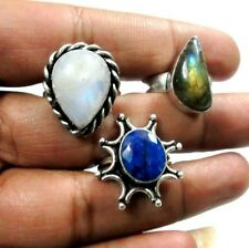 Natural Sapphire,Labradorite,Moonstone 925 Silver Plated 3 Pcs Ring Jewelry Set
