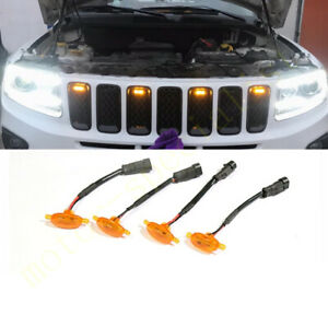 4pcs Front Grille LED Light Raptor Style Grill Cover For Jeep Compass 2011-2021