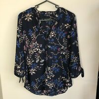 Ivanka Trump Women's Size S Navy Blue Floral 3/4 Sleeve Popover Top Tie Sleeve