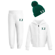 Personalised Initials Tracksuit and Beanie Set Winter Girls Boys Set Green