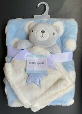 Baby Gear Sherpa Baby Blanket & Blue Teddy Bear Star Lovey Set New