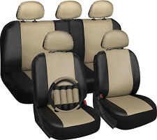 Faux Leather Car Seat Covers Tan & Black 17pc Set w/Steering Wheel/Head Rests
