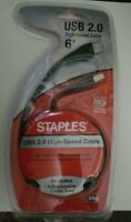 USB 2.0 High-Speed Cable 6'~Staples Brand~New Unopened Package #577153