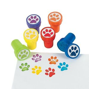PAW PRINT STAMPS 6 DOG PUPPY PUPPIES PARTY TEACHER CLASS SCHOOL FAVOURS PRIZES