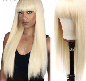 613 Blond Straight Human Hair Wig With Bangs 150% Pre Plucked