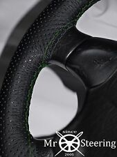 FOR SKODA FABIA I 99+ PERFORATED LEATHER STEERING WHEEL COVER GREEN DOUBLE STICH