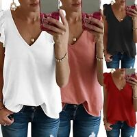 Womens V Neck Loose Tank Top Summer Sleeveless Casual T Shirts Blouse Solid Tee