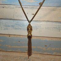"Vintage Egyptian Necklace Gold Tone King Tut Queen Pendant chain tassel 28"" long"