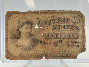 1863 United States Ten Cents 10c Fractional Currency #3
