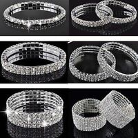 Wedding Bridal Gift Crystal Rhinestone Stretch Bracelet Bangle Wristband Elastic