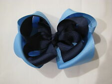 hair bows ribbon school girl accessories clips elastic navy light blue