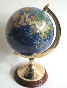 Großer Globus auf Holzstand H 47 cm- Messinggestell- blau