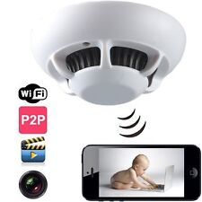 720P WIFI UFO Smoke Detector Hidden Camera Iphone/Android P2P home Security