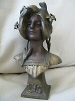 "Antique Victorian Art Nouveau Woman Bust LYS Cast Metal Spelter Statue 5"" #2"
