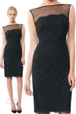 $308 Tadashi Shoji Illusion Mesh Sleeveless Black Lace Sheath Dress