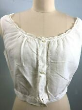 Sz S Antique Vtg Edwardian Victorian White cotton corset cover camisole cami top