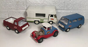 4 Vintage Mini Tonka Lot Winnebago RV Camper Pickup Truck Van Hot Rod Smart Cart