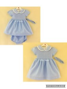 BABY GIRLS TRADITIONAL SMOCKED DRESS OUTFIT BLUE