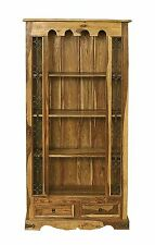 Jali Solid Sheesham Indian Rosewood 2 Drawer Bookcase Fully Assembled