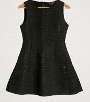 AX Paris Skater Dress Size 12 Black Sleeveless Pretty Textured Material Smart