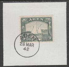 909514  ADEN 1937 DHOW 9pi  on piece with  MADAME JOSEPH FORGED POSTMARK
