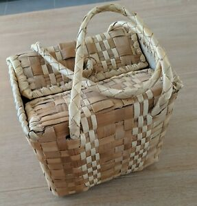 Small vintage retro woven bamboo cane carry basket