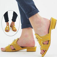 Women's Flats Slip On Mustered Sandals Open Toe  Comfy Smart Ladies Pearls Shoes
