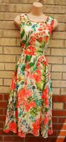 GABBY SKYE CREAM MULTI COLOUR FLORAL TROPICAL FLIPPY MIDI SKATER TEA DRESS 12 14