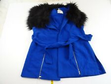 Lane Bryant Christian Siriano Blue Belted Faux Collar Vest Coat 22 24 NWT
