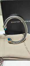 David Yurman 7mm Cable Classics Bracelet with Blue Topaz and 14K Gold