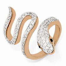Cheryl M Sterling Silver Black & White Cubic Zirconia Snake Ring Size 7 #812