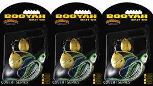 (LOT OF 3) BOOYAH COVERT SPINNERBAIT BYCVS12GGC730 1/2OZ WHT CHART BLUE BO8112