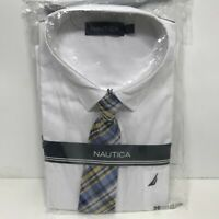 Nautica White Long Sleeve Dress Shirt Boys Size & Blue Yellow Plaid Clip-on Tie