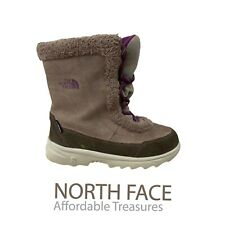 The North Face  Girls Size 3 Brown Suede Leather Waterproof  Winter  Snow Boots