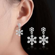 Ladies Fashion Solid 925 Sterling Silver Zircon Snowflake  Ear Stud Earrings