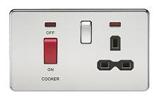 Screwless 45 A DP Switch & 13 A Switched Socket avec Néons-Chrome Poli Avec