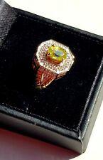 NEW Sphene & White Topaz Gold Ring,  Size N/O