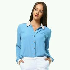 Forever 21 Blouse Shirt Blue Pink Trim & Buttons Long Sleeve Sz Large NWT