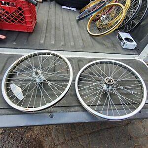 1987 CMC Steel Chrome Wheel Set 20 x 1.75 KK Hubs Suntour Freewheel Mongoose BMX