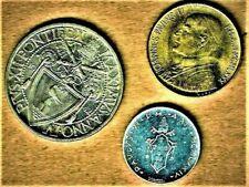 Vatican Trio of quality coins w/ 1942 1 Lire, 1976 1 Lire, & 1980 20 Lire coins