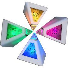7 Couleurs LED Réveil Cube Lumineux LCD Horloge Veilleuse + Date Température FR