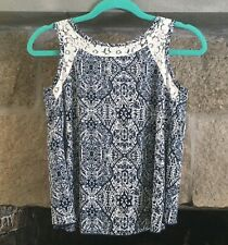 Kiddo Made in U.S.A Girls Fly Away Lace Detail Blue Sleeveless Blouse Top 12