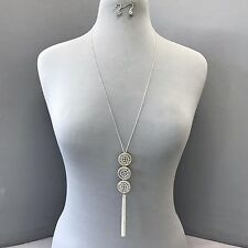 Classic Antique Silver Gold Circle Shaped Tassel Pendant Necklace With Earrings