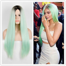 Hot Selling Kylie Jenner Black Green Wig Long Natural Straight Fashion Wigs