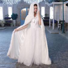 New Long Cape with Hood Cloak Faux Fur Warm Winter Coat for Wedding