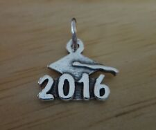 Sterling Silver 13x13mm College High School Graduation 2016 with Cap Charm